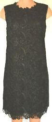 Dolce And Gabbana Black Lace Embroidered Wiggle Pencil Sleeveless Dress Size 46