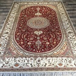 Yilong 6'x9' Handknotted Silk Area Rugs Medallion Traditional Red Carpet Y418c