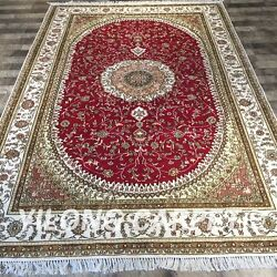 Yilong 6'x9' Handknotted Silk Rugs Medallion Living Room Home Carpet Red Y416c