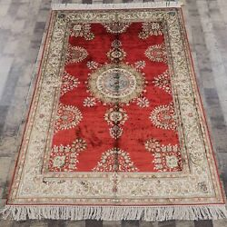 Yilong 4'x6' Red Handknotted Silk Carpet Indoor Living Room Oriental Rugs 874b