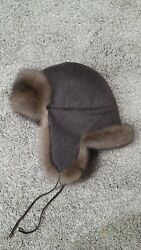 Barguzin Sable Loro Piana Cashmere Trapper Hat With Flaps Made In New York Usa