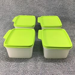 Tupperware Keeps Tabs Containers 4 Count Set 6590 Frosted W Apple Green Lids Nos