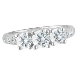Past-present-future Diamond Engagement Ring In 14k White Gold Size 5 1/2