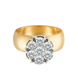 Wide Band 14k Ring With Diamond Flower Cluster