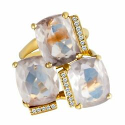 Carla Amorim 18k Yellow Gold Ring With 3 Topaz And Diamond Accents. Size 6