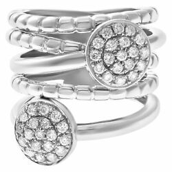 5 Banded Ring With 2 Pave Diamond Clusters In 18k White Gold, 0.60 Cts...
