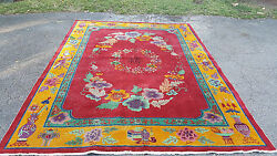 Huge Antique Art Deco 30's Nichols Chinese Flower And Vase Red Rug 11.5' X 8.75'