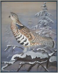 Frank L. Beebe Original Painting Grouse In Snowy Landscape 1937 Fine And Rare 3