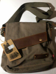 Augur Green Canvas And Leather Crossbody Messenger Shoulder Bag Purse Unisex $24.00