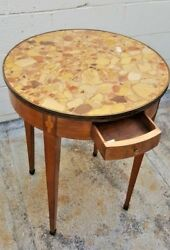 19 Century Fine French Inlaid Marbel Top Round Lamp Table With A Drawer
