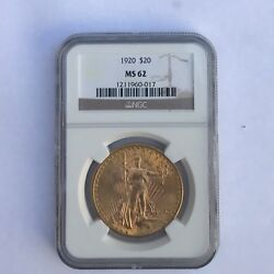 1920 20 Ngc Ms62 Gold Double Eagle Saint Gaudens Coin 1211960-017