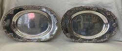 Alvin American Antique Pair Of Sterling Silver Large Platters Rare