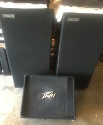 A Pair Of Rsl Mx-1 Rogersound Labs Mx-1 Speakers And Peavey Pv-12m