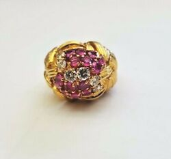 A Very Fine Vintage 18k Yellow Gold With Diamonds And Rubies Ladies Ring