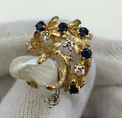 A Fine 18k Gold Diamonds Sapphires And Pearl Ladies Vintage Ring