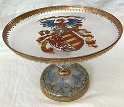 An Important Fine Hand Painted Enamel On Pedestal Glass Dish Circa 1700