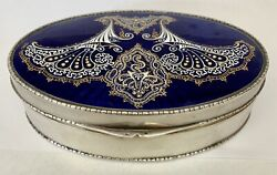 An Important German 935 Silver And Hand Painted Enamel Oval Box Circa 1900