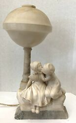 An Important Italian Alabaster Table Lamp ' First Kiss ' Figurine By A Gory