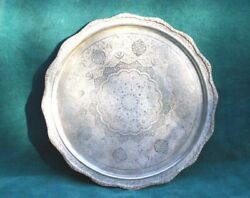 Antique 84 Silver Sterling 12'' Round Hand Chased Tray
