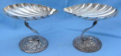 Antique Pair Gorham Sterling Dolphin Shell Design Dishes Magnificent
