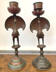 Antique Pair Champleve On Bronze 12h Peacock Candle Sticks  Magnificent