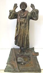 An Orientalist Austrian Cold Painted Antique Bronze Of Prayer 9and039and039hight