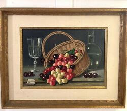 Charles Cerny 1961 French Still Life After Cherry Oil Canvas Fine Painting