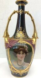 Dresden 19 Century German Hand Painted 12h Two Handle Vase Signed By Wagner