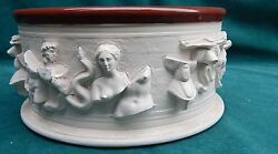 Fine And Rare Pottery Bowl With Roman Figurines Signed