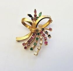 French Old 14k Yellow Gold Diamonds Ruby Emerald Sapphire Brooch Signed