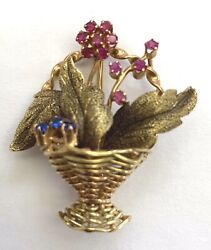 French 18k Yellow And Rose Gold Ruby Sapphire Vintage Brooch Signed