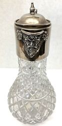 Magnificent 1967 Sterling Silver And Cut Crystal Figurine Cover Jar By Hb Maker