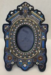 Magnificent Antique Champleve Cloisonne On Sterling Silver Picture Frame