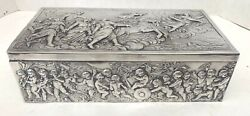 Magnificent Antique Italian 800 Silver Repousse Cherubs 10and039and039 Long Box