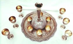 Middle Eastern 84 Silver Set Of Goblets Shot Glasses Jar And A Matching Tray