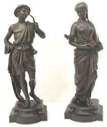 Pair Of Fine 19 Century French Bronze 16and039and039h Figurine The Boy And Girl On Marble