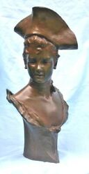 Van Der Straeten 19 Century French 21and039and039h Bronze Bust Of Pretty Girl Statue Rare