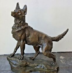 Thomas Francois 19 Century Large French Fine And Rare Bronze Wolf Statue