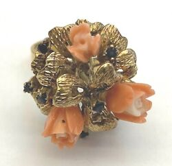 Vintage 14k Yellow Gold Sapphire And Carved Coral Flowers Ladies Ring Size 6.5