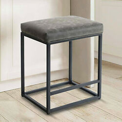 Bar Stools Backless Metal Dining Chairs Leather For Indoor Furniture Gray 24''