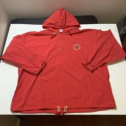 Vintage Menand039s Marlboro Country Store Cigarettes Anorak Hoodie Jacket Xl Red