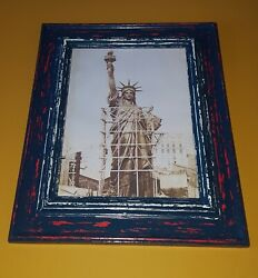Vtg Style Statue Of Liberty Framed Print In Rustic / Shabby Chic Prop Set Design