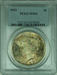 1922 Peace Silver Dollar 1 Coin Pcgs Ms-63 Beautifully Toned 34-f