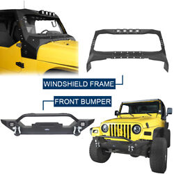Windshield Frame Cover Armor + Front Bumper For Jeep Wrangler Tj 97-06 Textured