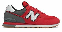 New Balance Men#x27;s 574 Shoes Red with Grey