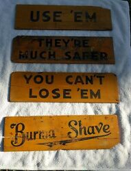 4 Antique Burma Shave Wooden Road Signs Yellow And Black 193740 X 11with Book