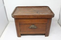 Antique Old Wooden Merchant Desk Drawer Box Trunk Money Box With Brass Handle