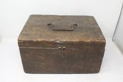 Antique Old Wooden Hand Crafted Big Merchant Box Money Box With Iron Latch