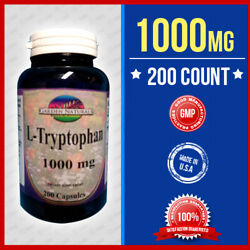 L-tryptophan 1000mg Mood Relaxation And Restful Sleep 200 Caps Potency Made Usa