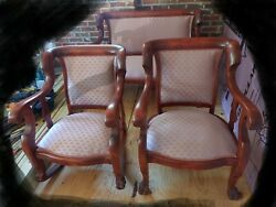 Antique Mahogany Empire Parlor Set Settee, Armchair, Rocking Chair